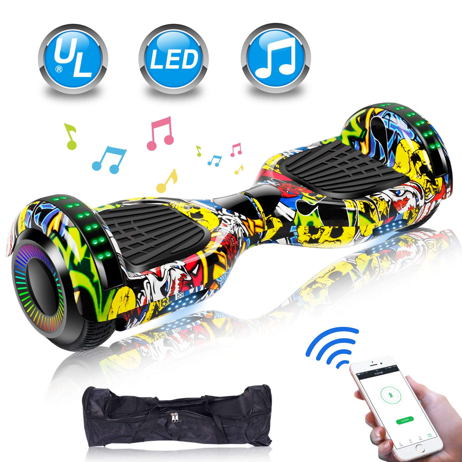 UNI-SUN 6.5'' Hoverboard for Kids, Two Wheel Electric Scooter, Self Balancing Hoverboard with Bluetooth and LED Lights for Adults, UL 2272 Certified Hover Board(Ultimate X-Graffiti
