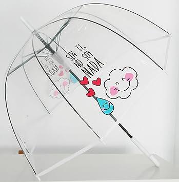 """Paraguas Transparente de Mujer. Paraguas Automático de Mujer con la frase """"Sin ti"""