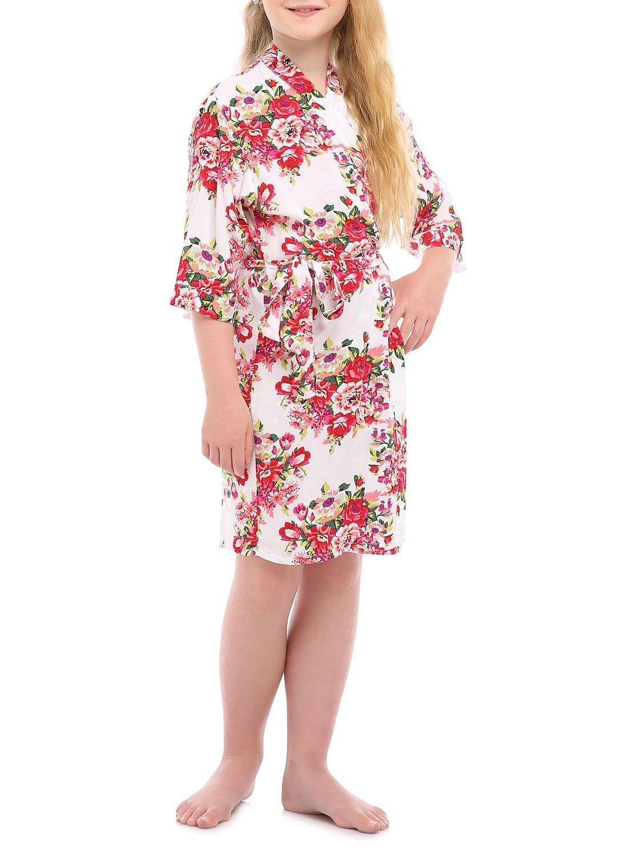 missfashion Girl's Black Floral Rayon Cotton Kimono Robe for Bridesmaid Sleepwear Wedding Nightgown(4,White)