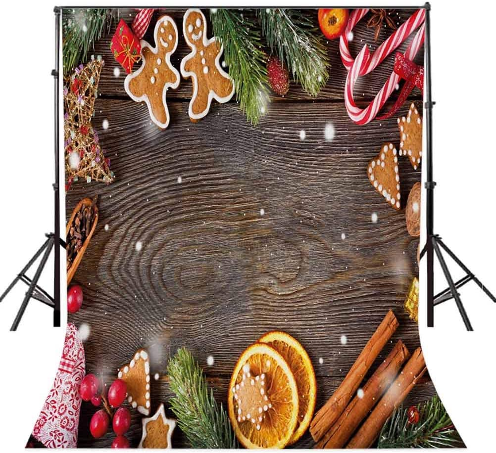 Gingerbread Man 10x12 FT Photo Backdrops,Festive Christmas Frame with Spices Biscuits Elements on Table Art Print Background for Baby Shower Bridal Wedding Studio Photography Pictures Multicolor