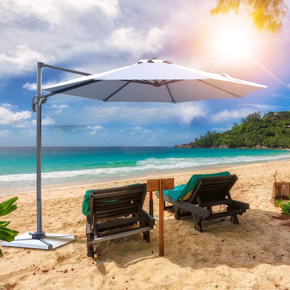 Spiaggia Balconi con Protezione Solare UV50+ Rotazione di 360 /° Ombrellone in Allumino da Esterno Arredo Piscina Bar Terrazze Ziigo Ombrellone da Giardino /Ø 3m Gazebo Taupe Hotel