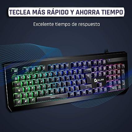 KLIM Domination Teclado Mecánico RGB ESPAÑOL - Interruptores Azules - Tecleo Rápido, Preciso y Cómodo - 5 Años de Garantía - Teclado Gaming ...