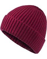 Oryer Mens Baggy Winter Knitting Skull Cap Wool Warm Slouchy Beanie Hat - Black