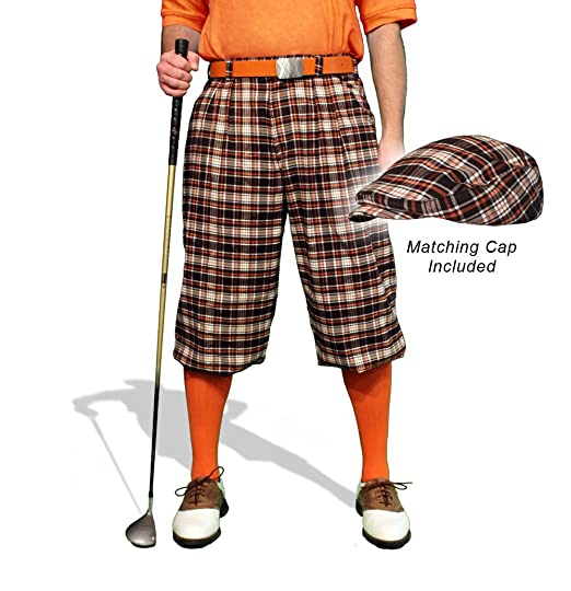 1920s Style Men's Pants & Plus Four Knickers Plaid Golf Knickers & Cap: Mens Par 5 - Falkirk $189.95 AT vintagedancer.com