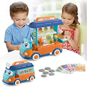 CooElc EylbKey Ice Cream Truck, Pretend Play Food Truck Set with Light and Sounds for Kids, Girls & Boys - Blue Orange