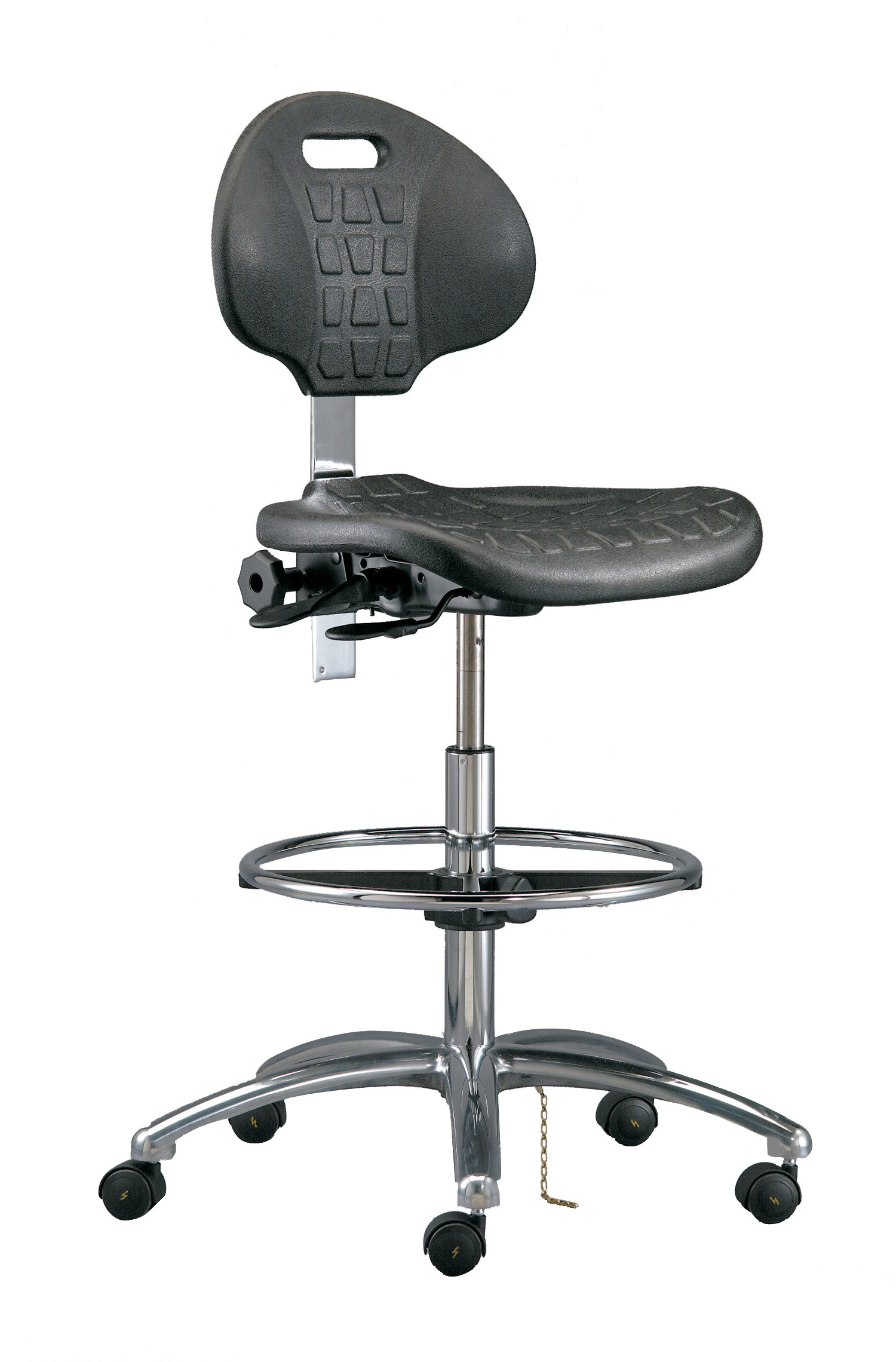 Bevco 7550E Class 10 Certified Cleanroom Ergonomic ESD Chair, 18'' Dia. Adjustable Chrome Footring, Polished Aluminum Base, 20-1/2''to 30-1/2'' Height Adjustment
