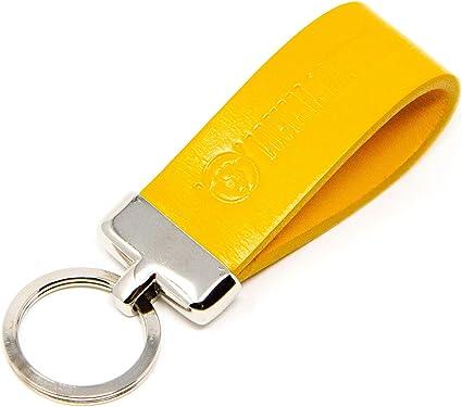 denim yellow bolo leather gunmetal key premium quality leather keyfob yellow leather keyring Yellow leather braided keychain
