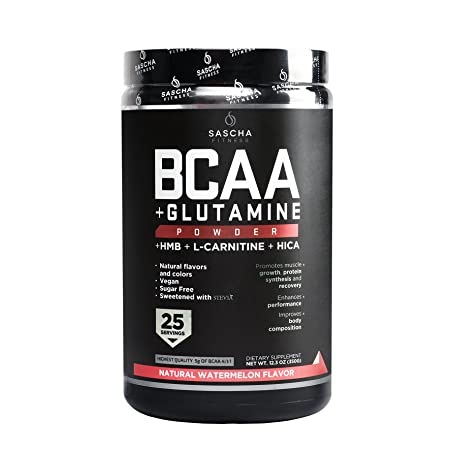 Sascha Fitness BCAA 4 1 1 Glutamine,HMB,L-Carnitine,HICA Powerful and Instant Powder Blend with Branched Chain Amino Acids BCAAs for Pre,Intra and Post-Workout Natural Watermelon Flavor,350g