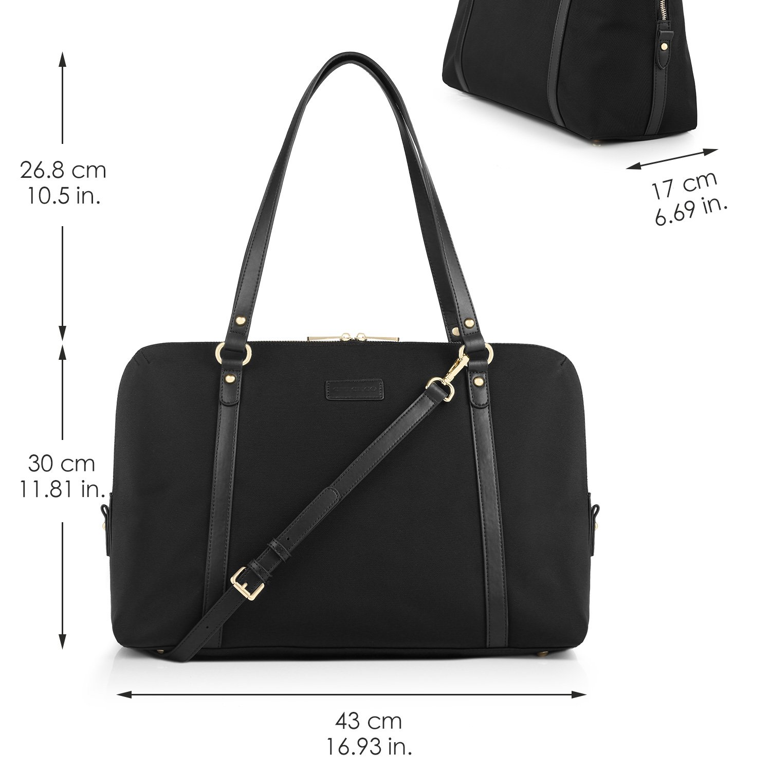 1a65b0184cc7 CHICECO Travel Tote Handbag Women s Briefcase for 15.6-Inch Laptops -  Black  Amazon.co.uk  Luggage