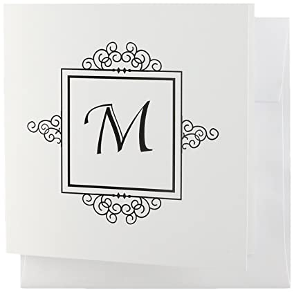 Amazon 3drose initial letter m personal monogrammed fancy 3drose initial letter m personal monogrammed fancy black and white typography elegant stylish personalized greeting cards m4hsunfo