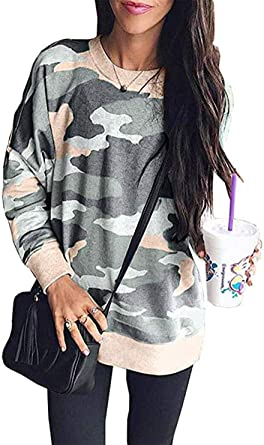 security Women Crew Neck Camo Printed Long Sleeve Sweatshirts Casual Blouses and Tops