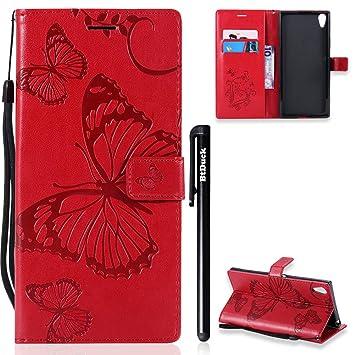 ... Sony XA1 Ultra Leather Wallet Phone Case, A prueba de golpes, cierre magnético funda transparente, Butterfly Red: Amazon.es: Instrumentos musicales
