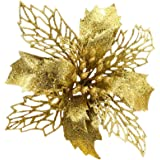 Gold New Glitter Artificial Wedding Christmas Flowers Glitter Poinsettia Christmas Tree Ornaments Pack of 12 (Gold)