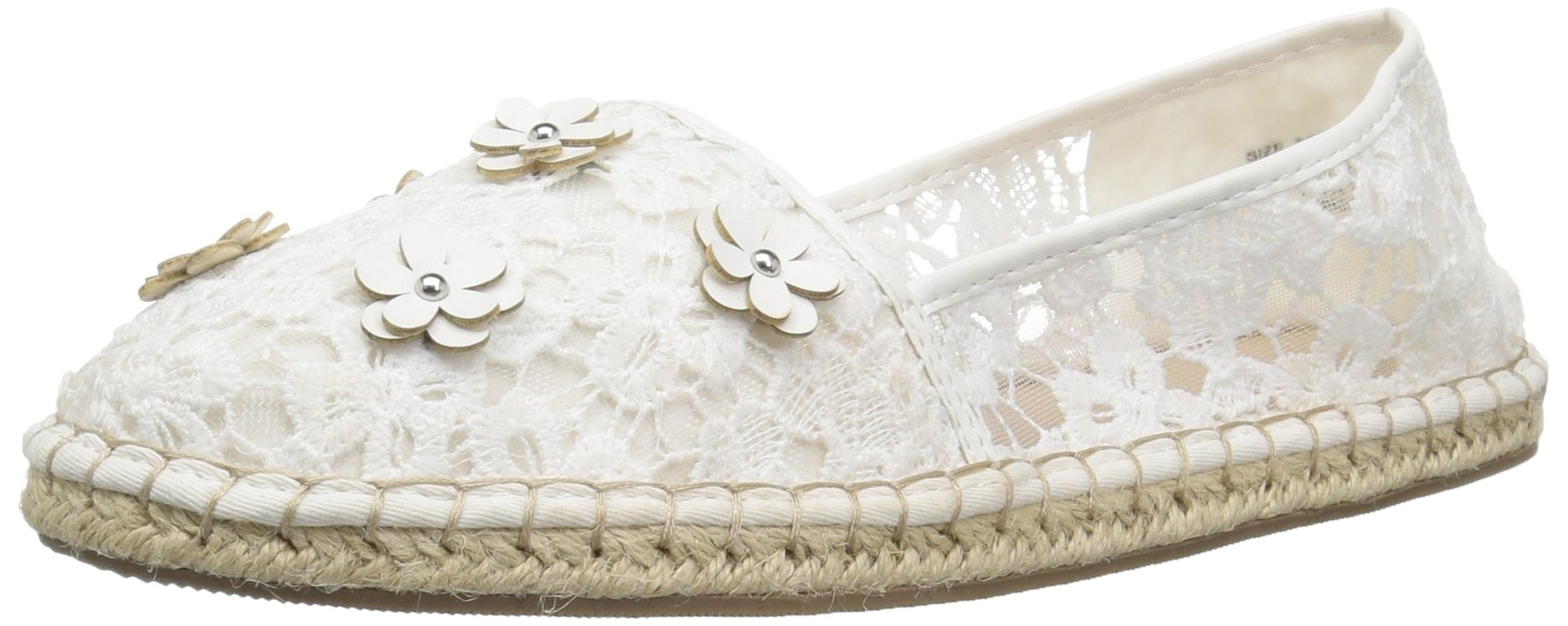 The Children's Place Girls' BG Lace Espadril Slipper, White, Youth 3 Medium US Big Kid by The Children's Place (Image #1)