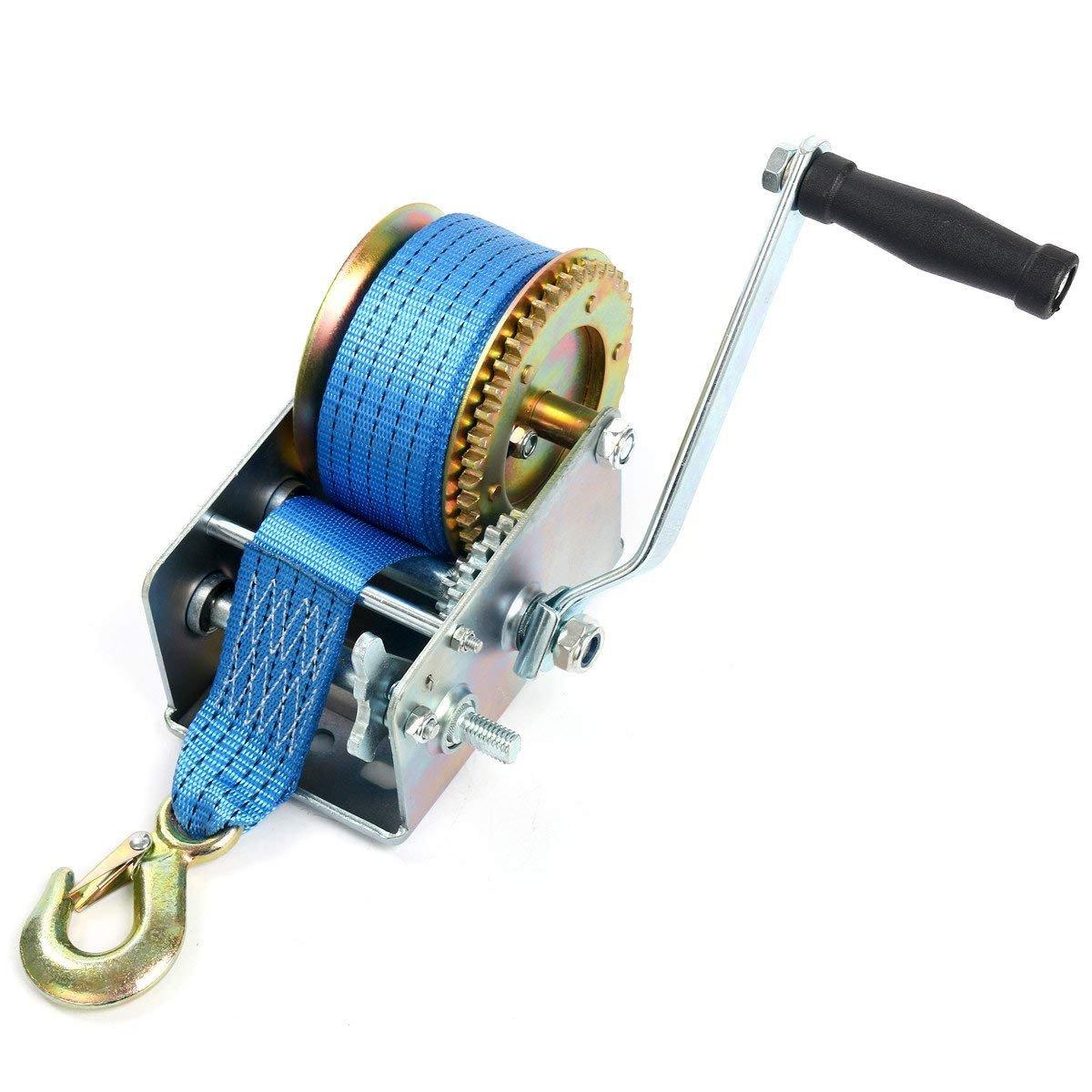 8milelake 1000lbs Hand Winch Hand Crank Strap Gear Winch Polyester Strap ATV Boat Trailer Heavy Duty freebirdtrading