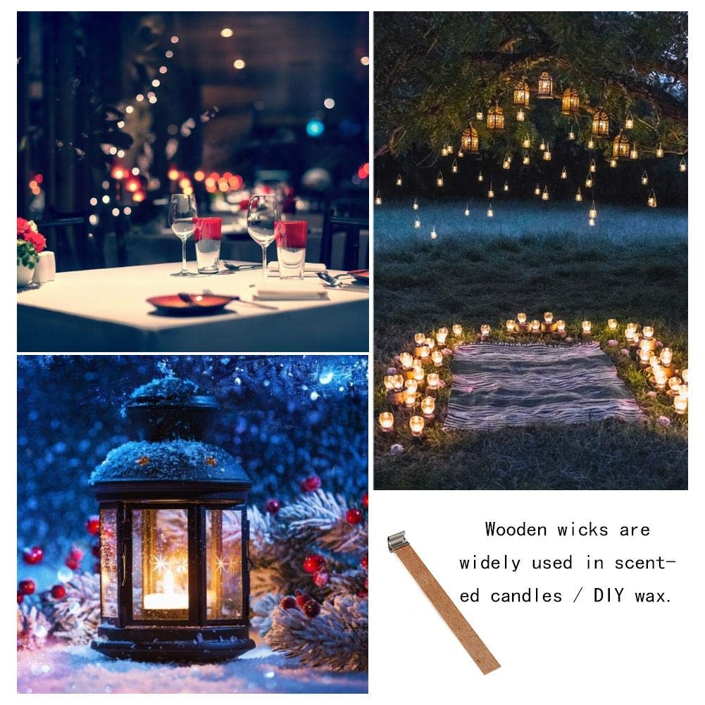 Stylishbuy 100PCS Wooden Candle Wicks with Metal Stand 5 Inch Natural Wood Candle Cores Low Smoke Candle Supplies for DIY Candle Making Industrial//Soy Wax