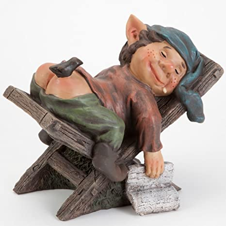 amazon com bits and pieces lazy elf on chair garden statue