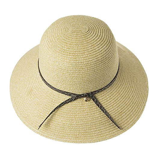 fe3eecbe6 Womens UPF 50 Straw Sun Hat Floppy Wide Brim Fashion Beach Accessories  Packable & Adjustable