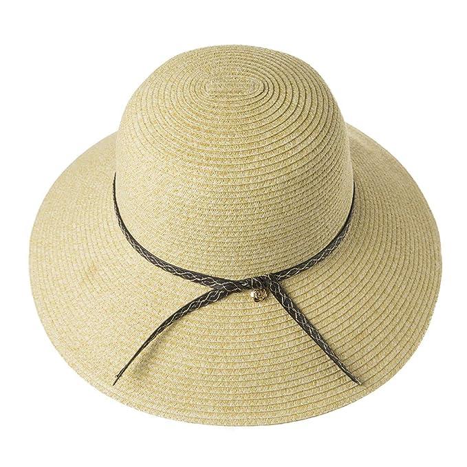 fbae3446 SIGGI Womens Floppy Summer Sun Beach Straw Fedoras Panama Hats Wide Brim  Beige Medium 56-