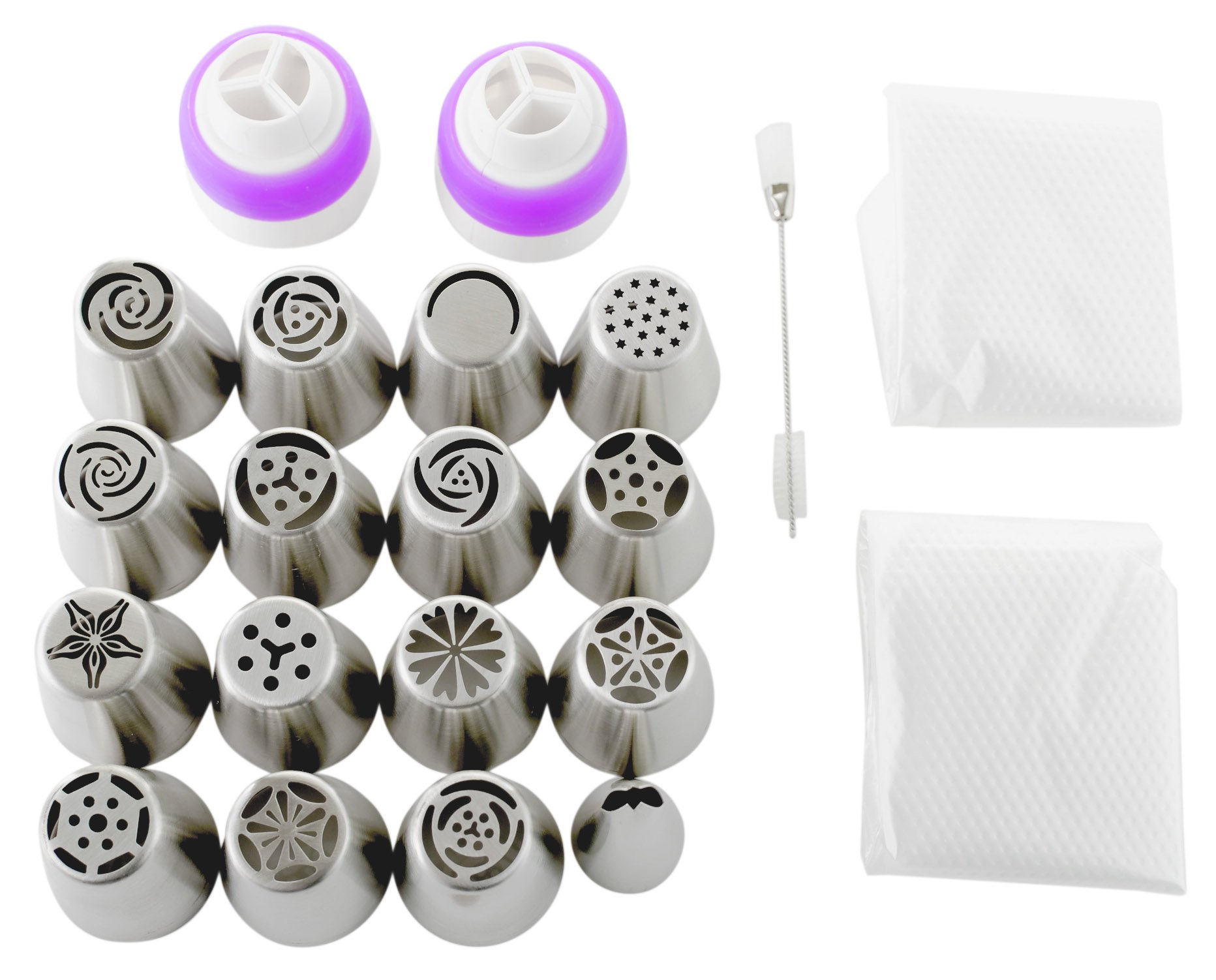 Russian Piping Tips Set (29-Piece Kit) | 15 Stainless Steel Icing Nozzles, 1 Leaf Tip, 10 Disposable Pastry Bags, 2 Couplers & 1 Brush | Flower Frosting Tools for Cake, Cookie, Cupcake Decoration 6 COMPLETE PIPING TIP SET: Unlike other cake frosting tips sets that require you to buy additional accessories, our extra-large 29-piece set comes with everything you need. This Russian piping tips kit includes 15 piping nozzles tips, 1 leaf tip, 2 tri-color reusable couplers, 10 disposable pastry bags, and 1 cleaning brush. Get extra accessories without having to pay extra. DURABLE & FOOD-SAFE: No dealing with regular metal piping tips that bend out of shape with a single use. Our Russian icing piping tips are crafted from sturdy food-safe stainless steel that handles thick frosting without ever losing shape. The 18/8 (304) stainless steel tips are also FDA-approved to ensure no toxins ever make their way into your treats. DECORATING MADE EASY: Create mouthwatering masterpieces without much effort even if you're a beginner. While other frosting decorating tips have tiny openings that easily clog and ruin the flow of the icing, ours are larger and produce beautiful results with a simple squeeze. We've even included handy instructions on how to use the couplers.