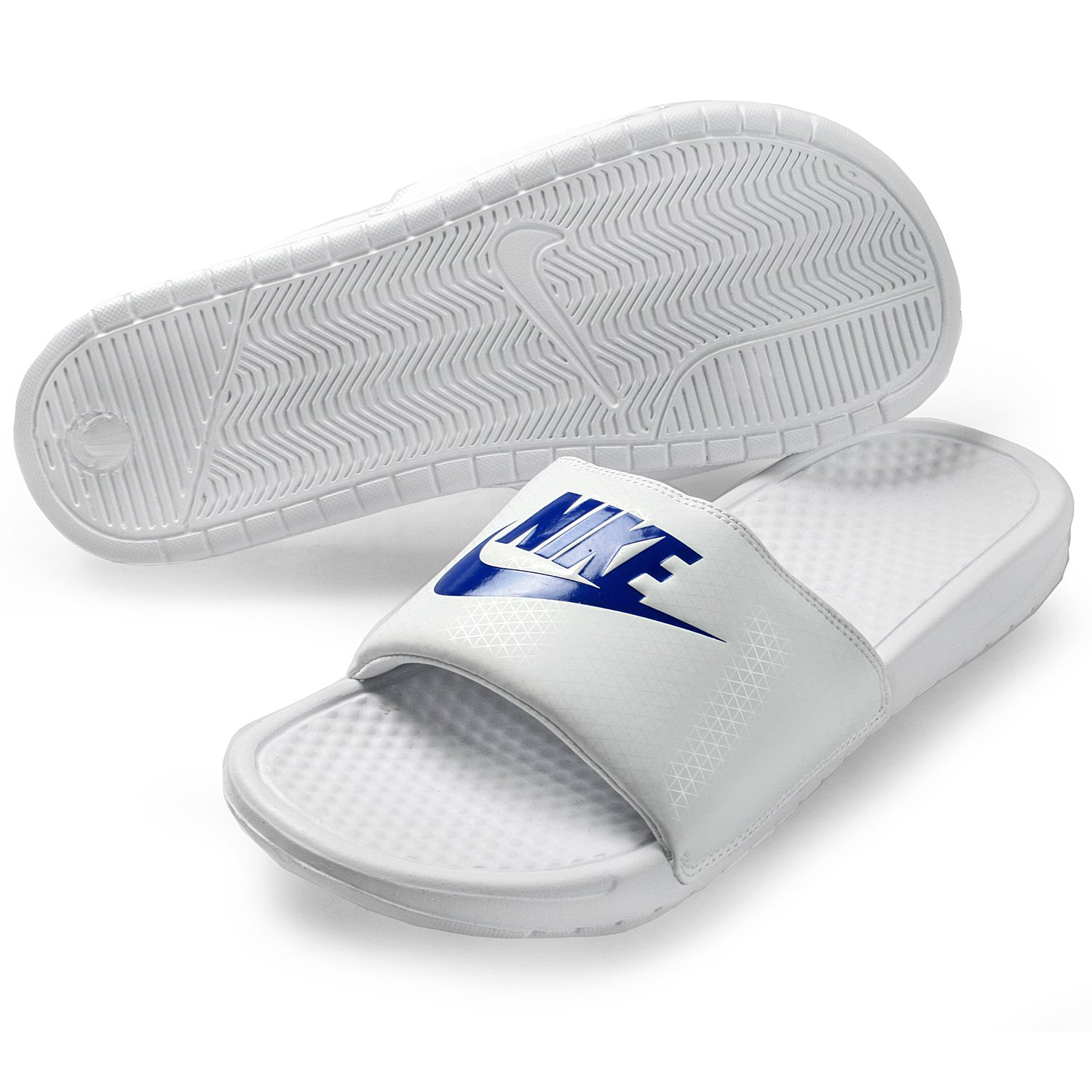 NIKE Benassi JDI Men's Sandals White/Varsity Royal/White 343880-102 (12 D(M) US)