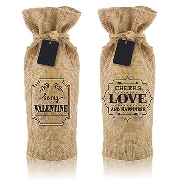 Amazon.com: BRIX750ML Burlap Wine Bag - 2 Stylish, Reusable Jute ...