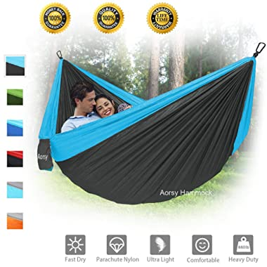 AORSY Camping Hammock, XL Portable Hammock for 2 Person Backpacking Travel Lightweight Hammock Single & Double Parachute Nylon Waterproof Foldable Hiking Hammock with 2 10ft Straps - Heavy Duty