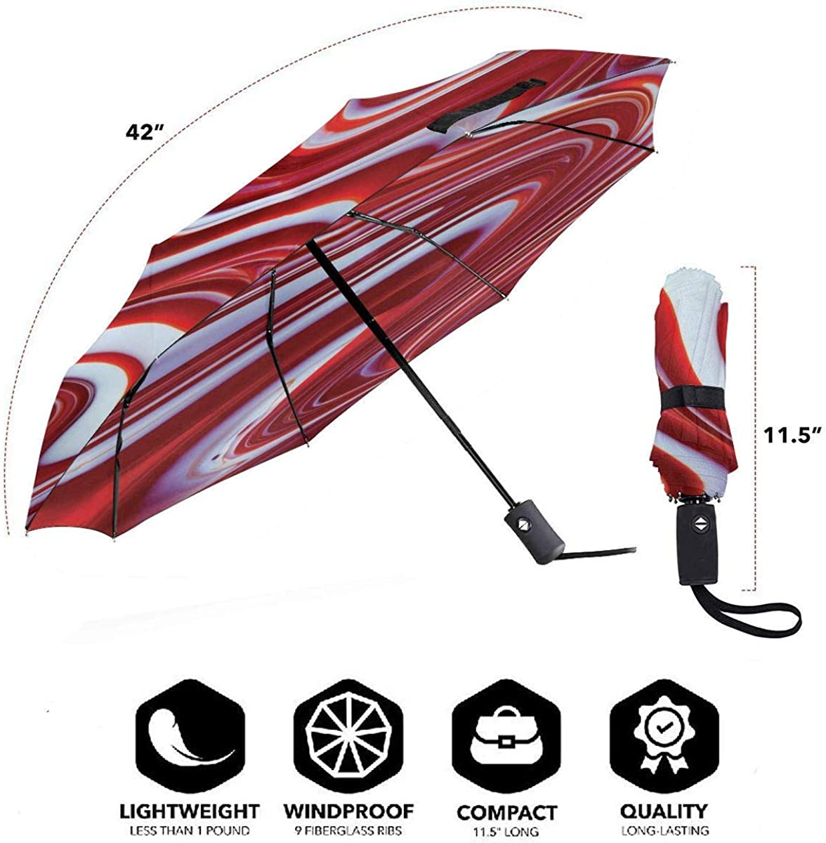 Marble Swirl Compact Travel Umbrella Windproof Reinforced Canopy 8 Ribs Umbrella Auto Open And Close Button Personalized