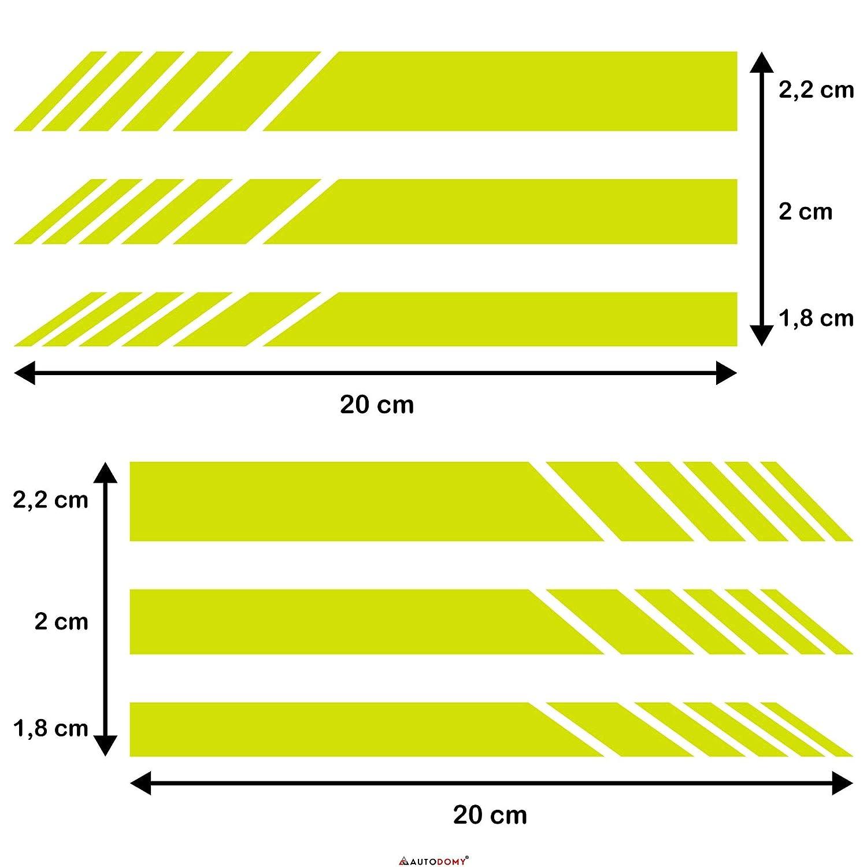 Plata Autodomy Pegatinas Espejo Retrovisor Coche con Dise/ño de Franjas Rayas Pack de 6 Unidades con Diferentes anchuras para Coche