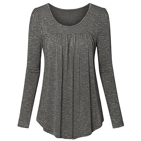 ❤ Camisa Plisada de Mujer,Parte Superior de la Cintura Delantera de Color sólido de Manga Larga o-Cuello Absolute: Amazon.es: Ropa y accesorios