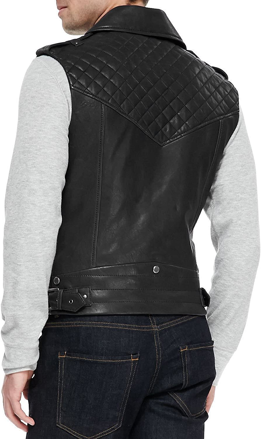 TrendzInn Mens Genuine Lambskin Leather Motorcycle Vest Slim fit Sleeveless Biker Jacket