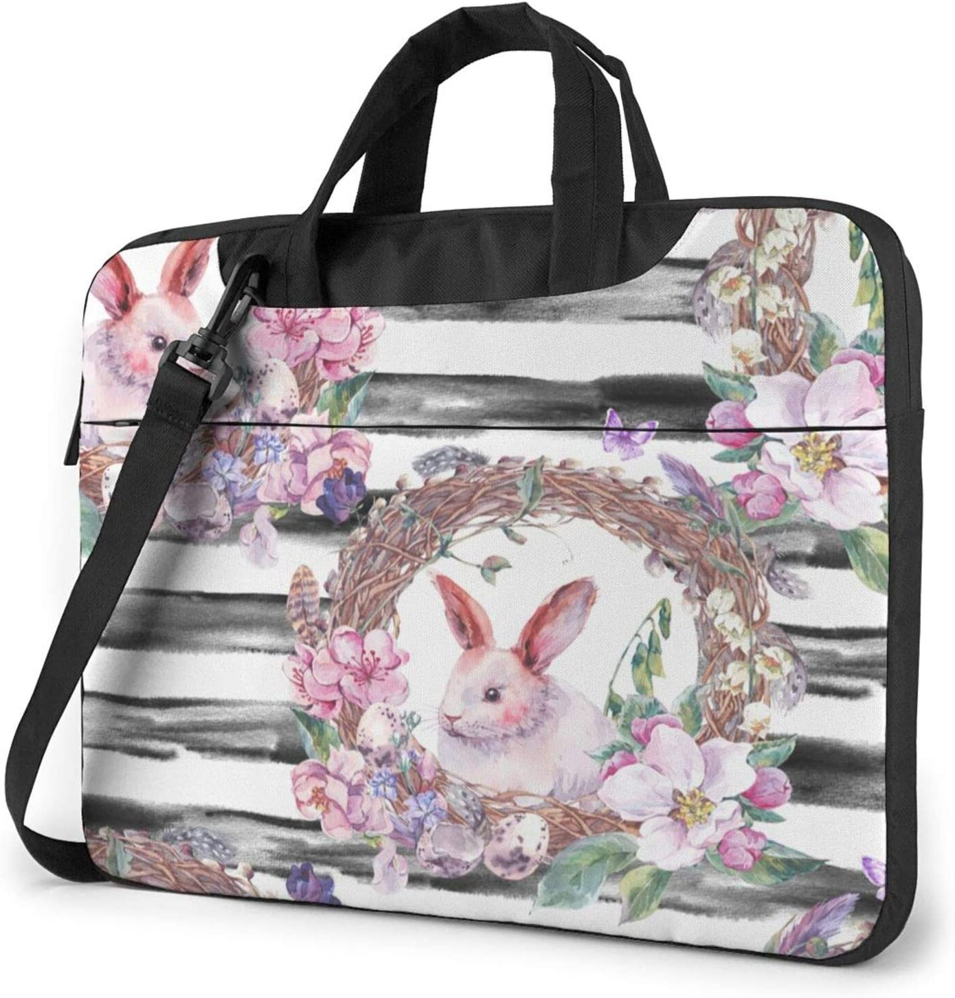 Laptop Messenger Spring Happy Easter Bunny Shoulder Bag Briefcase Office Laptop Sleeve Case Luggage for Men Women 15.6 Inch