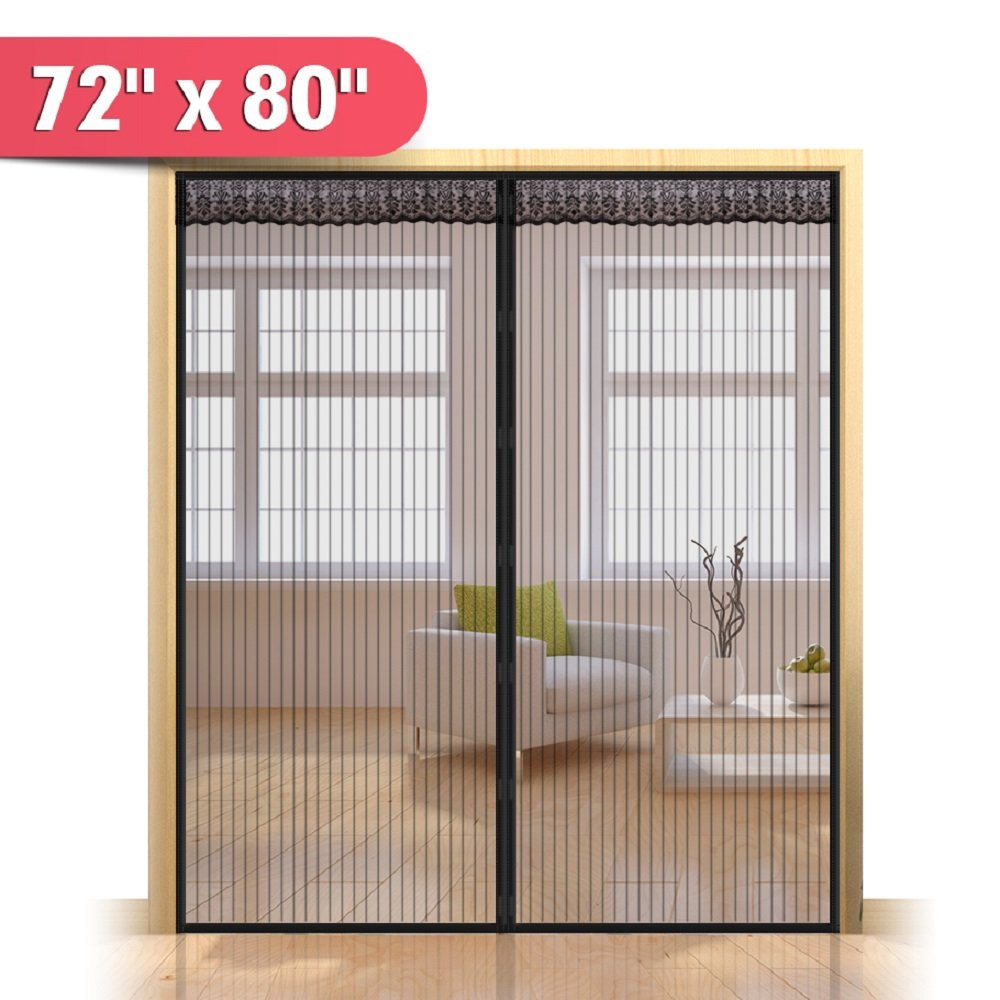 """72""""(w) x 80""""(h) Hands Free Magnetic Screen Door for Sliding French Doors, Full Frame Double Door Hook & Loop Bug Screen Mesh Curtain Keep Bugs Mosquitos Out,Black"""