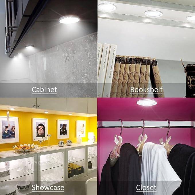 Novostella 6*LED Luces Muebles, Total 1020LM 12W LED Bajo Armario, 6000K Blanco Frío, Accesorios incluidos para cocina, Vitrina Encimera, Estantería