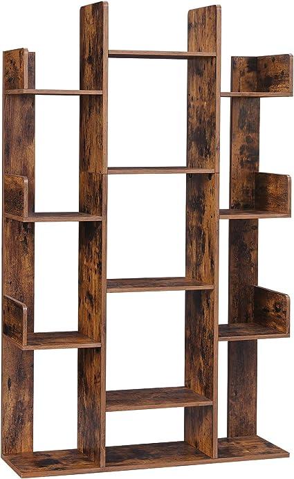 VASAGLE Librería en Forma de Árbol, Estantería con 13 Compartimentos, Armario de Almacenamiento, 86 x 25 x 140 cm, con Esquinas y Bordes Redondeados, ...