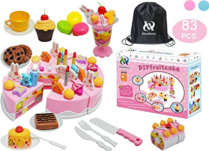 Astonishing Amazon Com Henmerry Diy Cutting Birthday Cake Toys Play Kitchen Funny Birthday Cards Online Inifofree Goldxyz