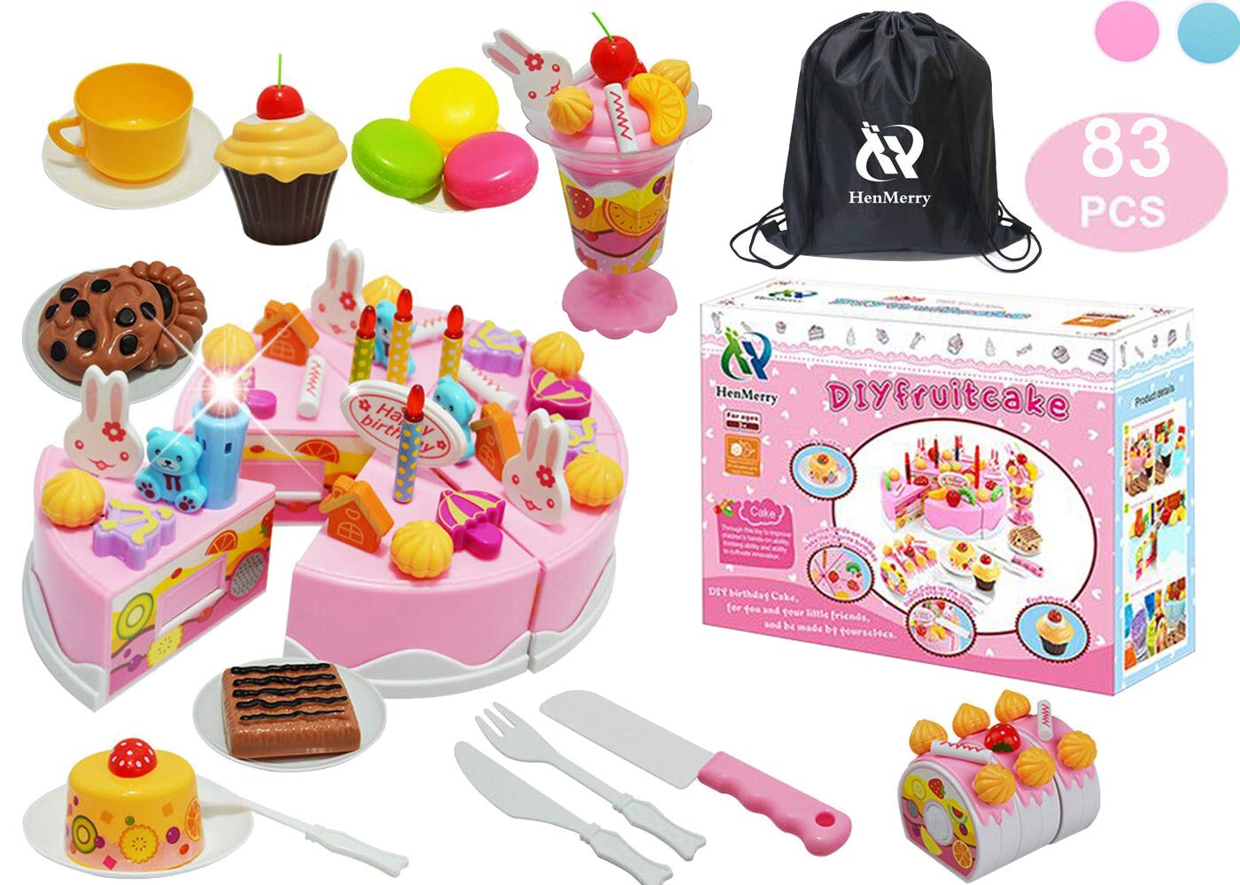 Amazon HenMerry DIY Cutting Birthday Cake Toys Play Kitchen Food Kids Pretend PlayLight And Music Toy Girls Gift With Blowable