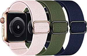 amBand Elastic Braided Solo Loop Compatible with Apple Watch Band 38mm 40mm, Stretchy Nylon Weave Adjustable Sport Strap Men Women Wristband Compatible with iWatch Series 6/5/4/3/2/1 SE, 3 Pack