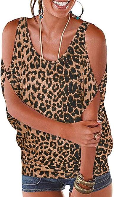 Blusas para Mujer Sexy, Blusa con Estampado de Leopardo de Hombro frío de Mujer Camisas de Manga Corta para Mujer Jersey Suelto Casual Tops Camisas Camisetas: Amazon.es: Ropa y accesorios