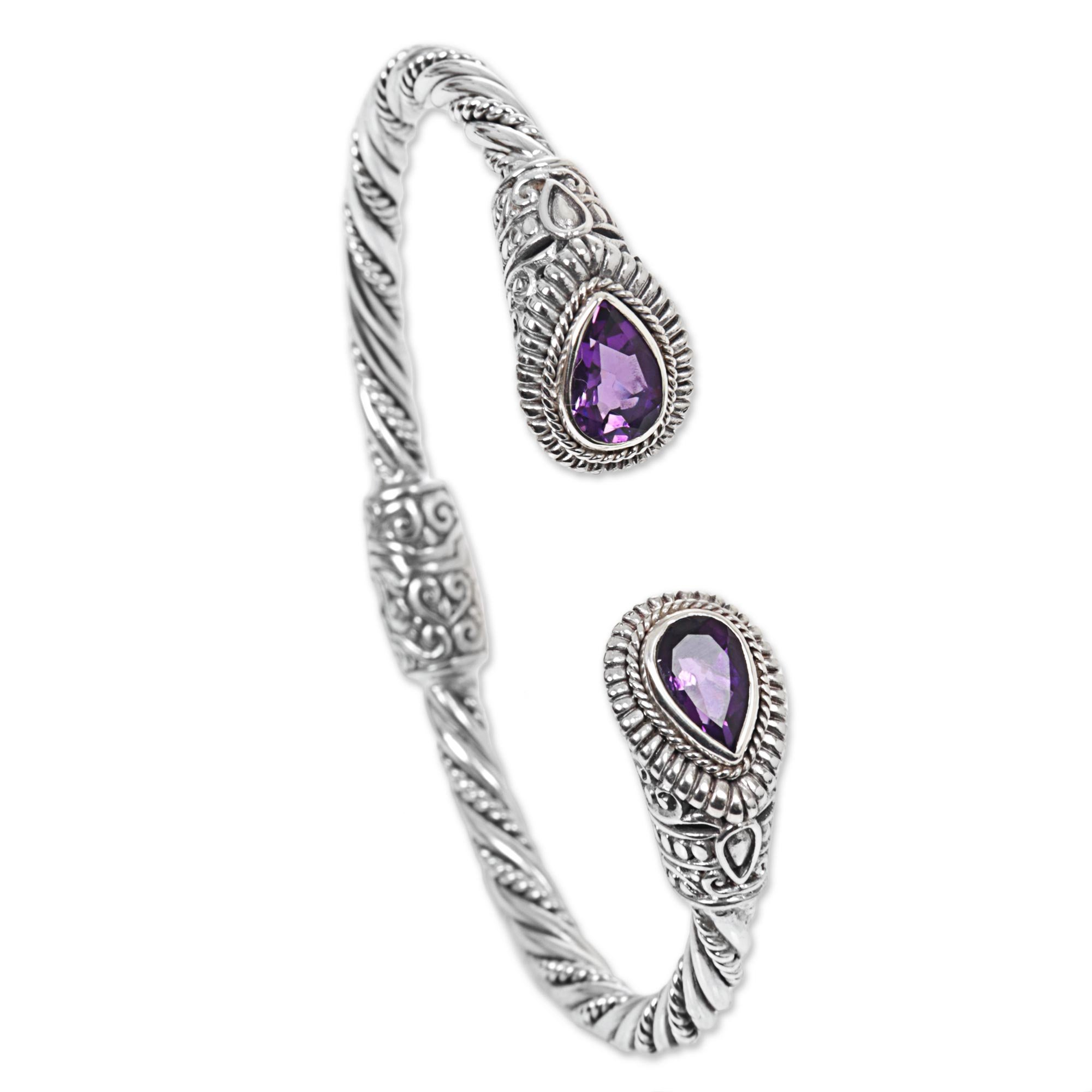 NOVICA Amethyst .925 Sterling Silver Hinged Twist Cuff Bracelet 'Bright Eyes'