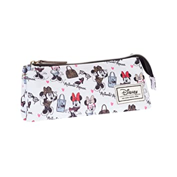Disney Minnie Mouse Classic Minnie Estuche portatodo Triple, Color Blanco, 24 cm (Karactermanía 33602)