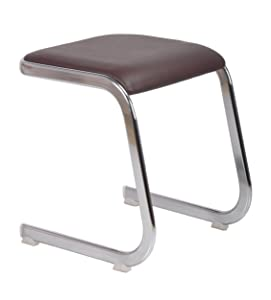 Bharat Furniture Chrome Plated Composite Leather Newton Stool (Brown) for Living Room, Home, Office
