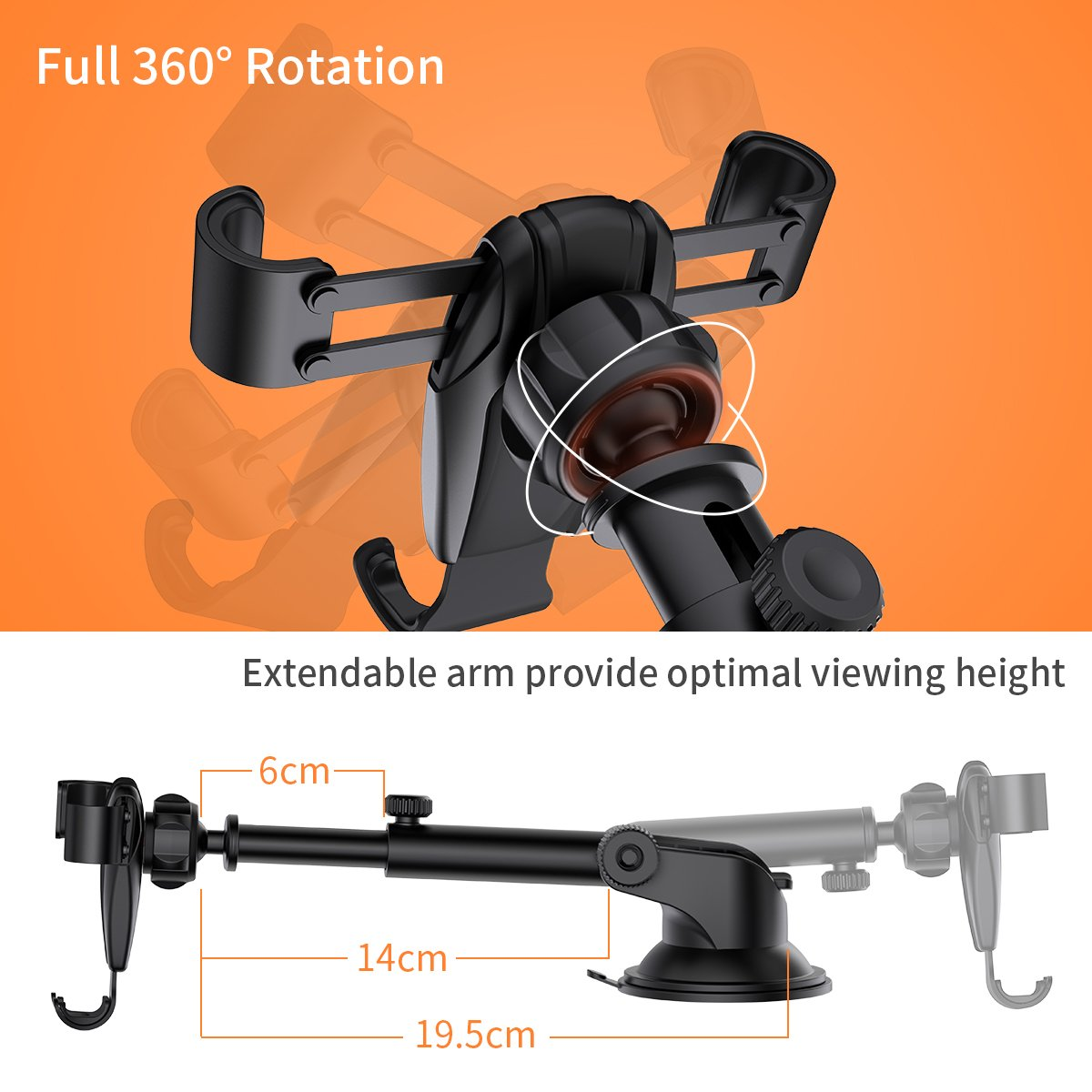 Cell Phone Holder Car, Universal Dashboard Cell Phone Holder Gravity Auto-Clamping Car Cradle Mount Adjustable Car Holder Phone X/ 8/7/ 6s/ Plus, Galaxy S9/ S8/ S7 Edge - Ainope by Ainope (Image #6)