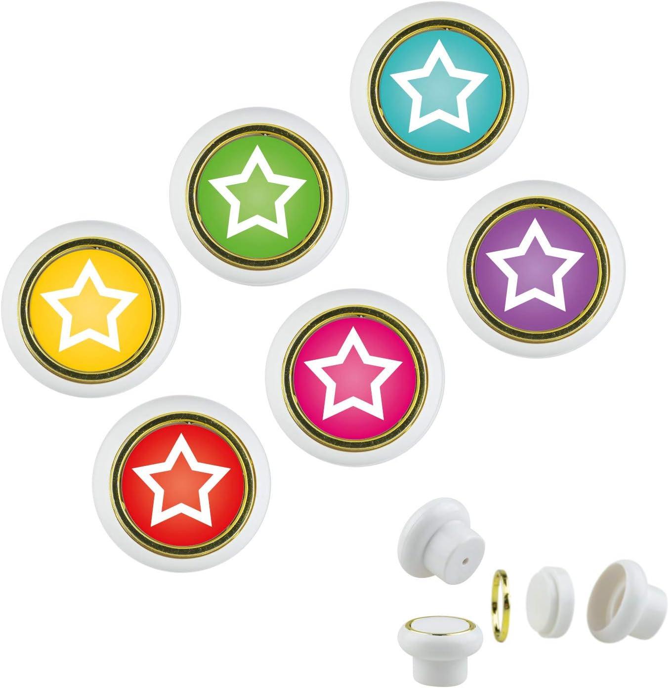 KST1035S Lot de 6 boutons de meuble en plastique Motif t/ête de mort Multicolore