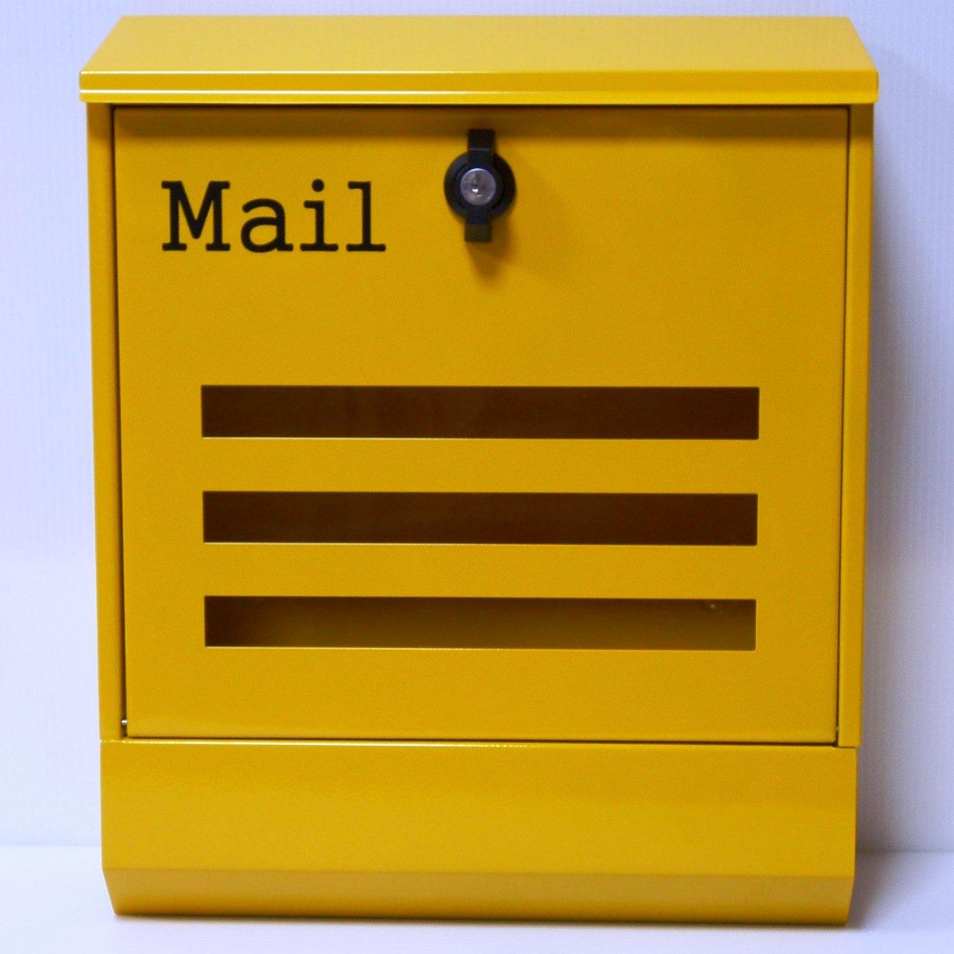 郵便ポスト 郵便受け 大型メールボックス壁掛けイエロー黄色プレミアムステンレスポストpm144 B018NNXYDU 12880