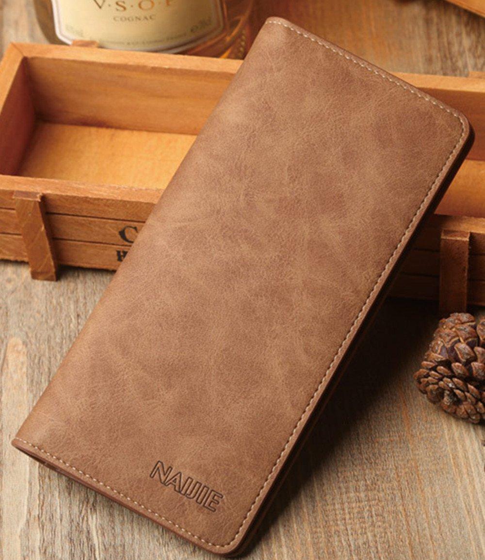 Men/'s Bifold Leather Breast Pocket Card Holder Suit Purse Long Wallet Checkbook