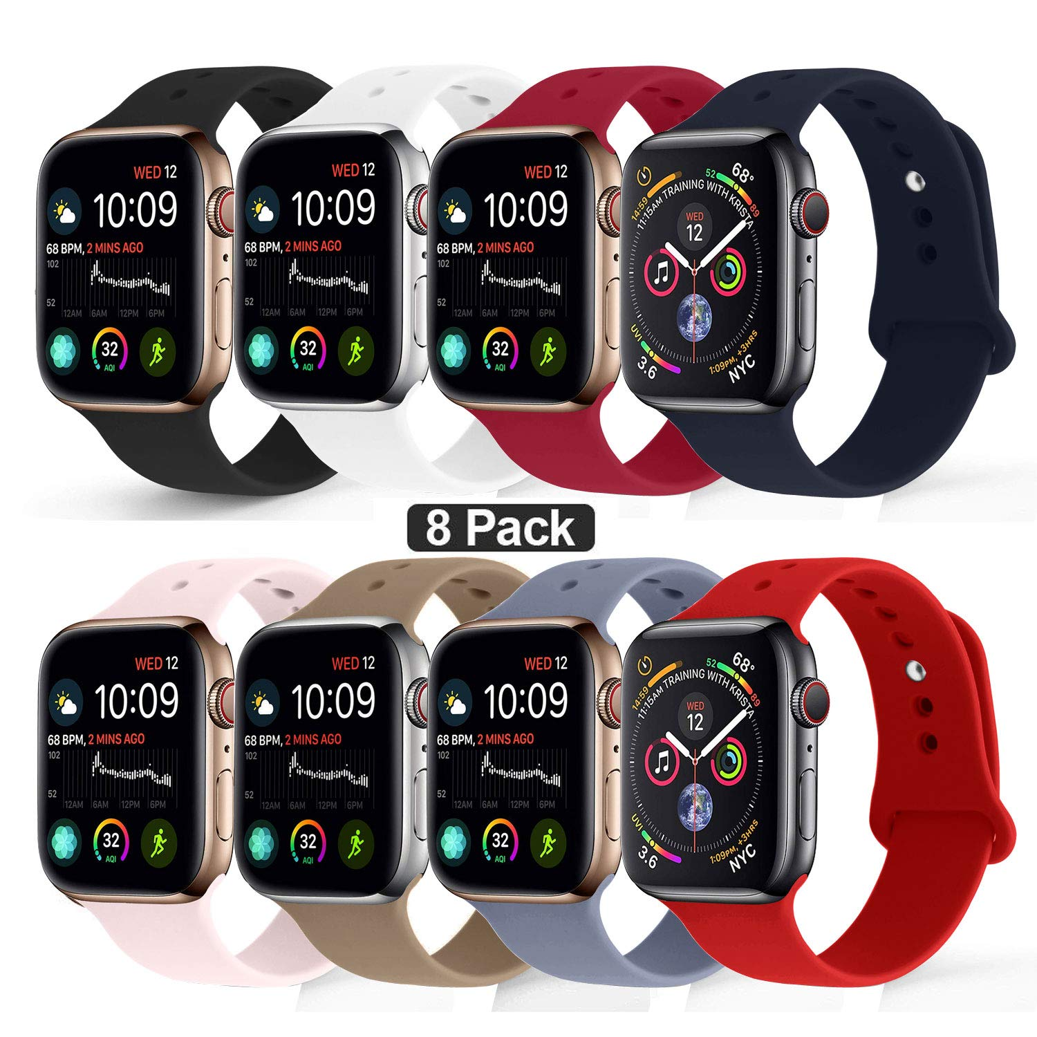 NUKELOLO Sport Band Compatible with Apple Watch 38MM 40MM, Soft Silicone Replacement Strap Compatible for Apple Watch Series 4/3/2/1 [S/M Size in 8 Colors Pack]