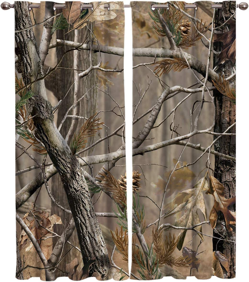 FortuneHouse8 Blackout Curtains Thermal Insulated Realtree Camouflage Room Drapes Window Curtain for Bedroom Living Room Set of 2 Curtain Panels Home Fashion 52x96inch