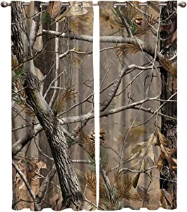 FortuneHouse8 Blackout Curtains Thermal Insulated Realtree Camouflage Room Drapes Window Curtain for Bedroom Living Room Set of 2 Curtain Panels Home Fashion 52x52inch
