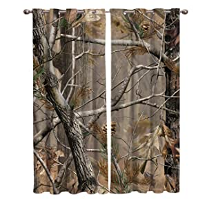 Window Panel Curtain Sets, Realtree Camouflage Home Drapes Decor for Living Room Kitchen Bedroom, 27.5 by 39 Inch, Set of 2 Panels, 1 Pair Curtains